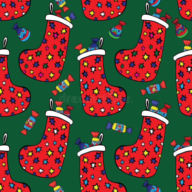 Socken mit Weihnachtsgeschenken lizenzfreie stockbilder