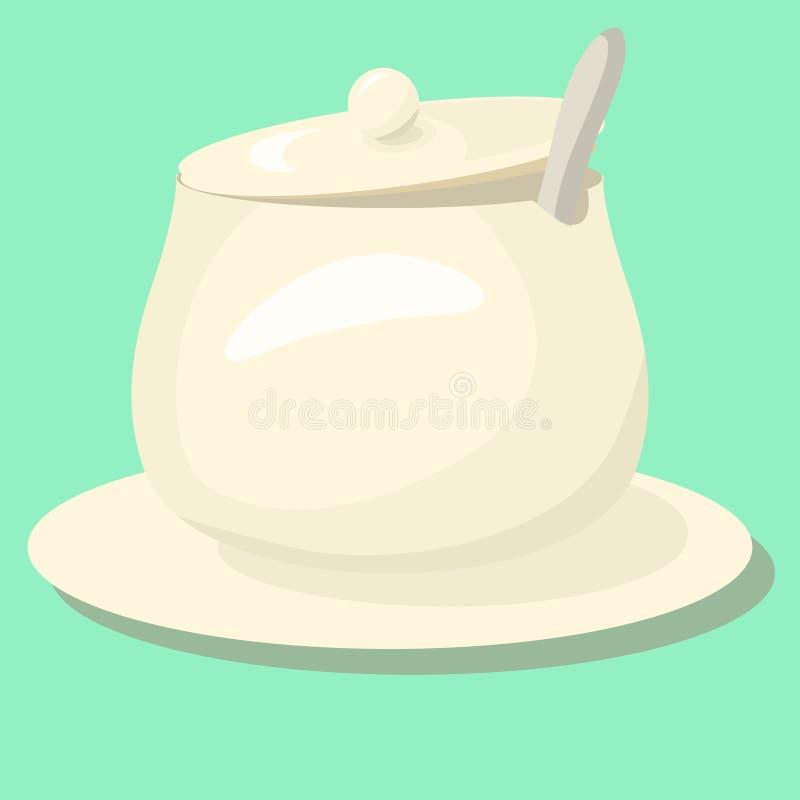 Socker-bunke för vektorsocker-bunke kopp som sked isoleras på vit bakgrund stock illustrationer