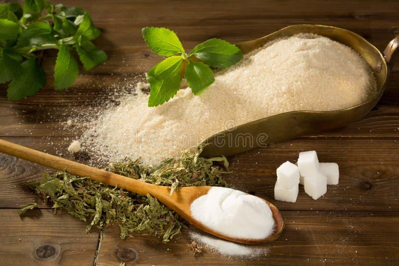 Socker eller steviasweetener royaltyfri foto
