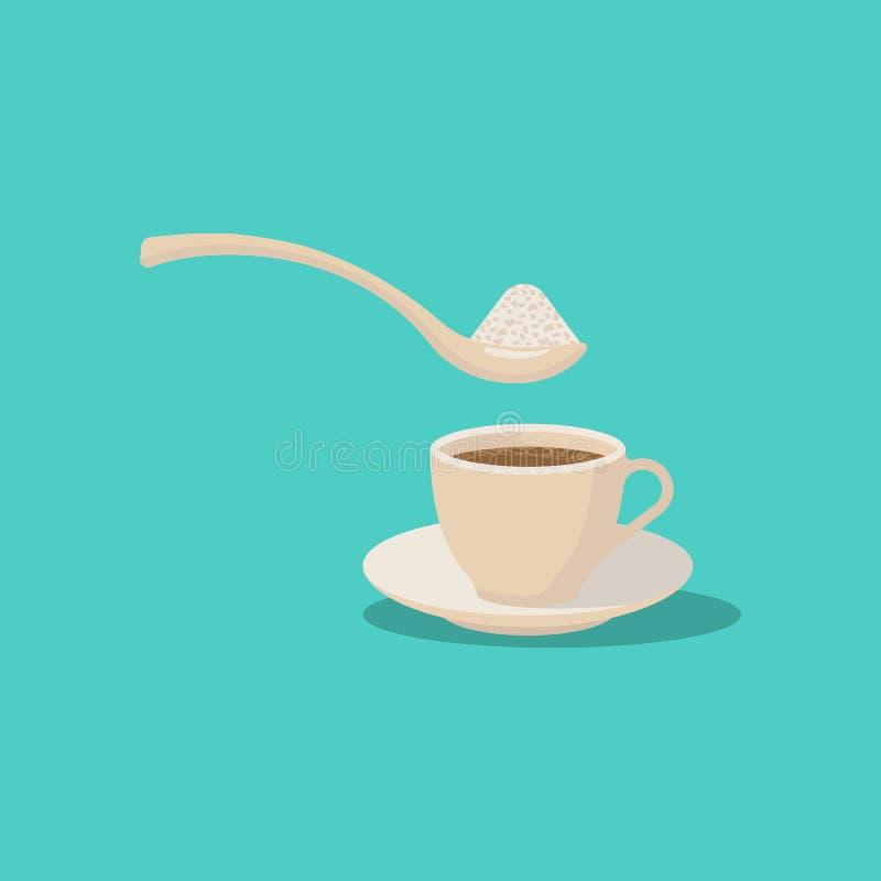 Socker i kaffe Design f?r vektorillustrationl?genhet vektor illustrationer
