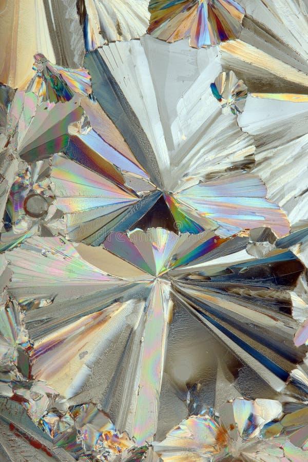 Sockerkristaller under mikroskopet royaltyfria foton