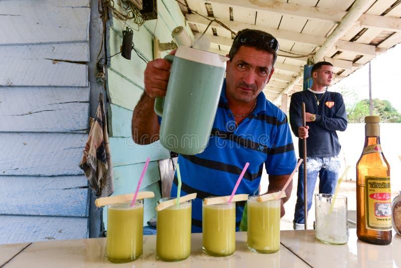 Sockerrör Juice Salesman - Kuba royaltyfri fotografi