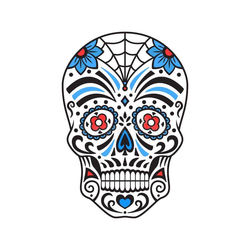 Sockerskalle Färgrik tatuering Mexicansk dag av dödaen också vektor för coreldrawillustration royaltyfri illustrationer