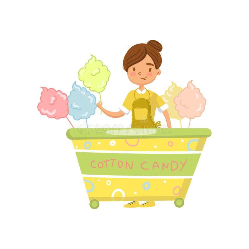 Sockervaddvagn med den kvinnliga säljaren, matkiosk på illustration för hjultecknad filmvektor royaltyfri illustrationer