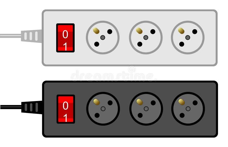 Socket eléctrico del enchufe portable en un fondo blanco libre illustration
