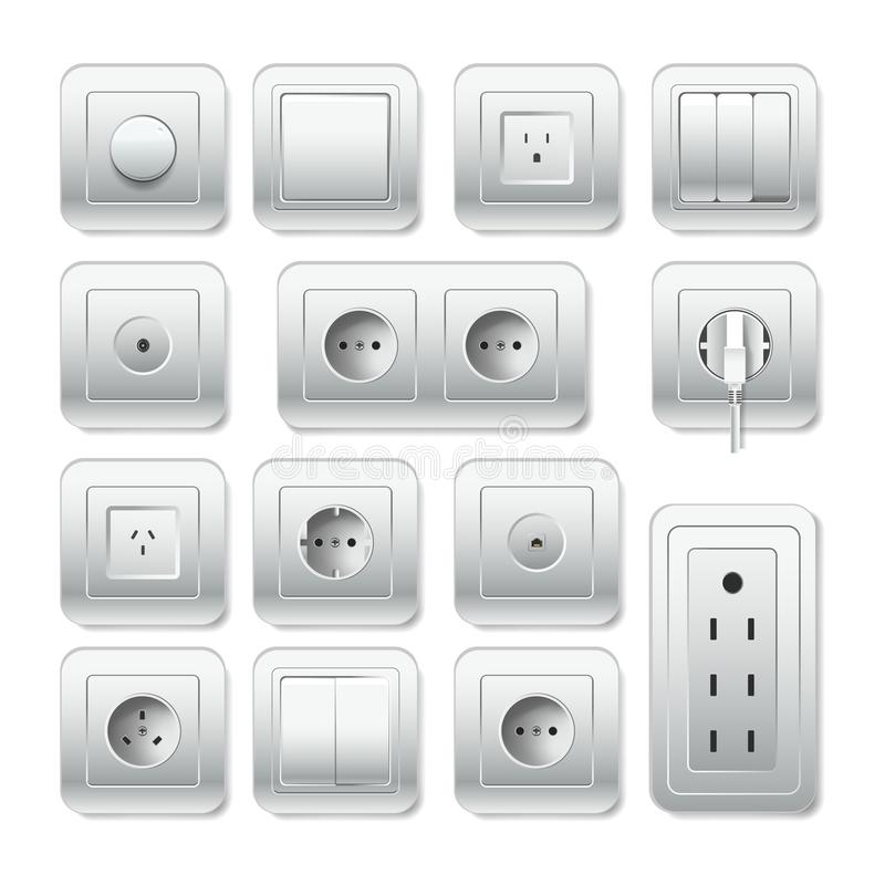 Socket electirc outlet, light switch and cable inlet vector 3D icons. Sockets types or electric outlet for plug. Vector 3D isolated realistic socket and light vector illustration