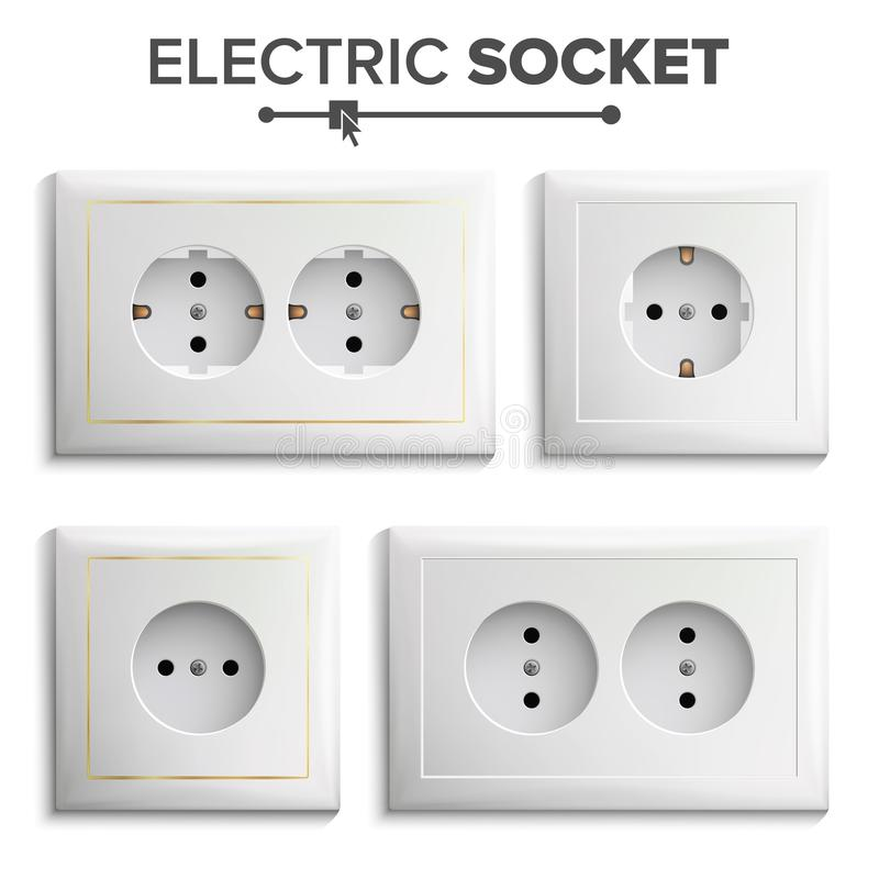 Socket Isolated Set Vector. White Double Grounded Power Switch ...