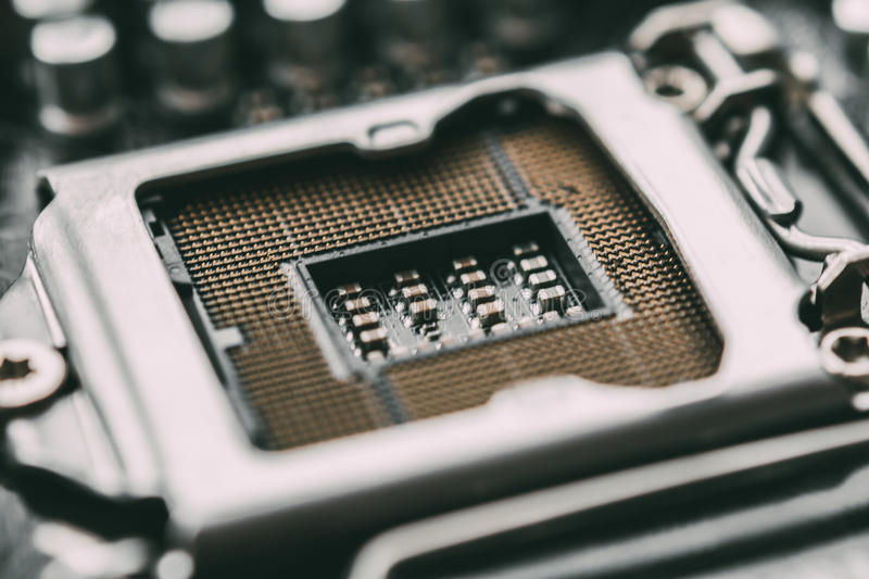 Socket for processor or cpu, macro photo. Electronic computer hardware technolog stock photography