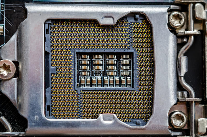 Socket for processor or cpu, top view, macro photo. Electronic computer hardware stock photography