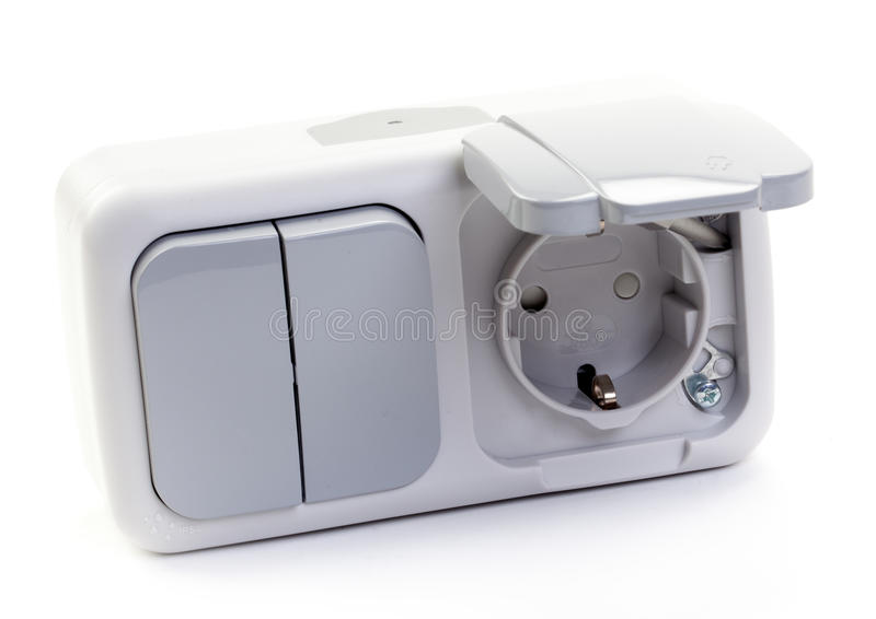 Socket and Switch. White Electric Socket and Switch on White background stock photo