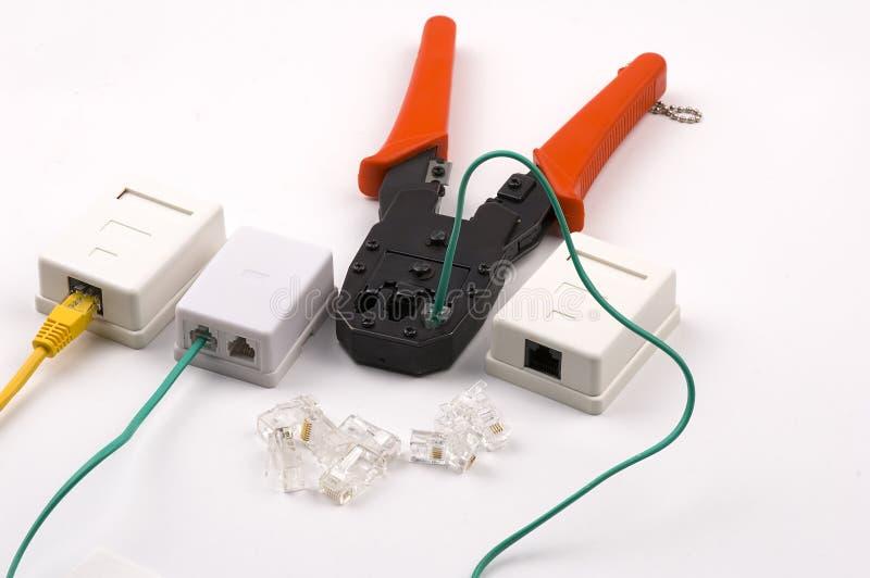 Socketes de la herramienta que prensa y de la red en blanco imágenes de archivo libres de regalías
