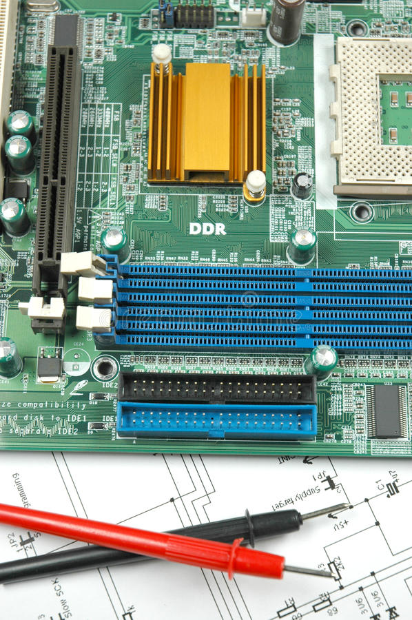 Sockets On Printed Circuit Board Stock Photography