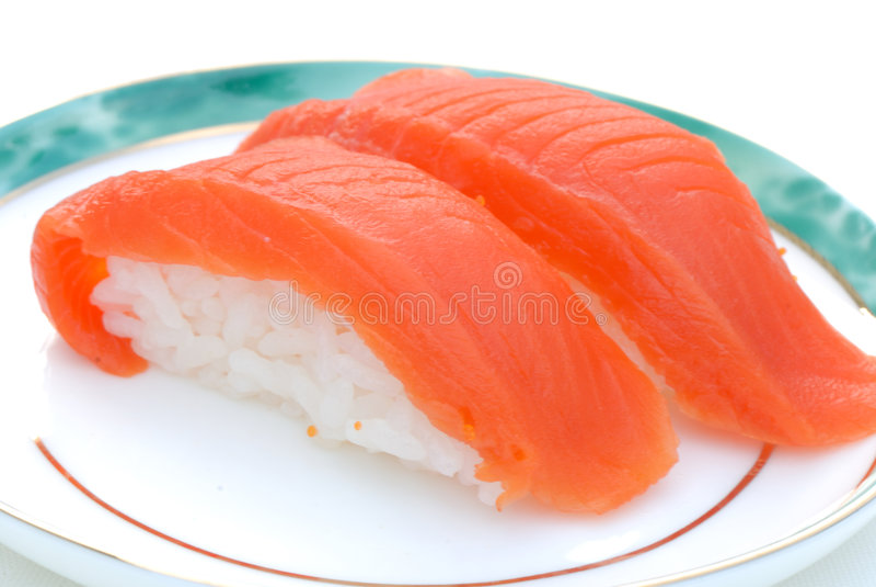 Sockeye Salmon Sushi. Two Pieces of Sockeye Salmon Sushi royalty free stock photo