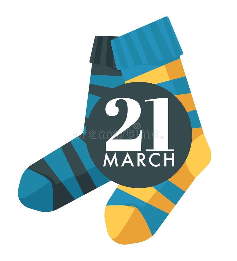 Sockor för barn för världsDown Syndrome dag isolerade symbol royaltyfri illustrationer