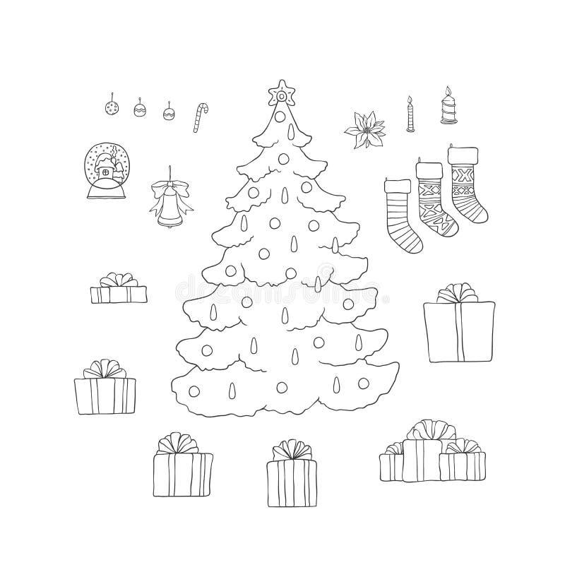 Sockor och ask för gåva för uppsättning för träd för nytt år för jul med band Vektorsvart skissar linjen feriesymboler som hälsar royaltyfri illustrationer