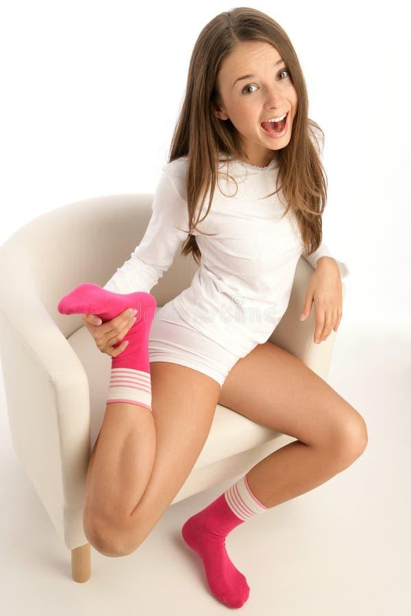 socks нося женщина стоковое изображение
