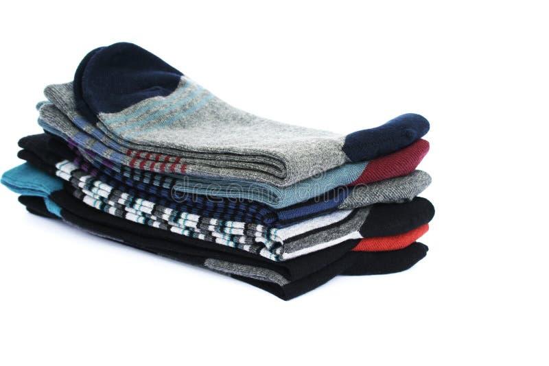 Socks. Stack of socks on white background stock photo