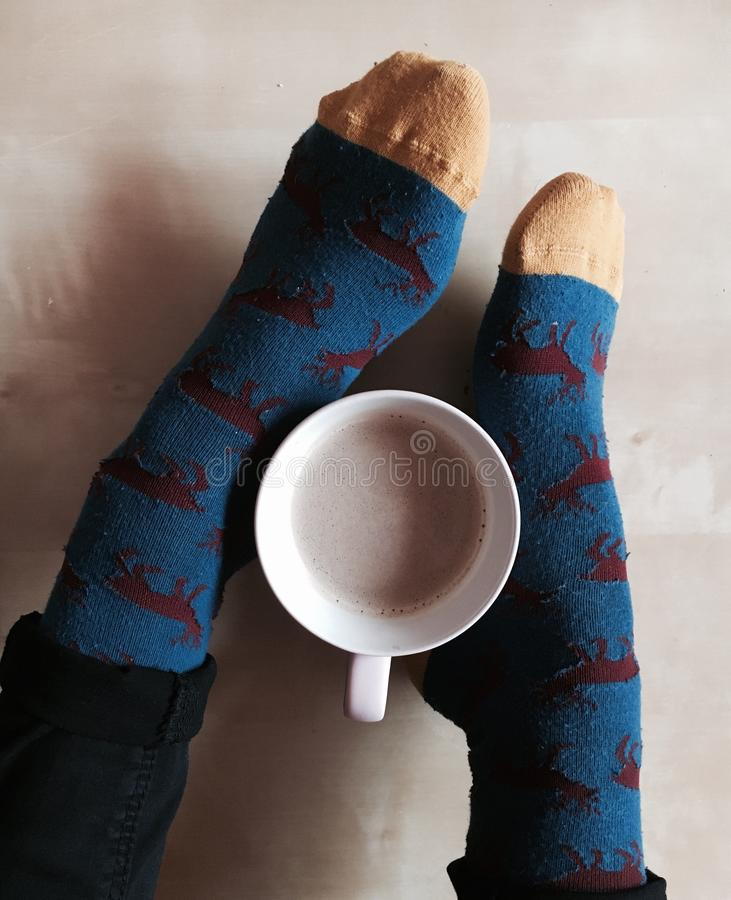 Socks and coffee stock images
