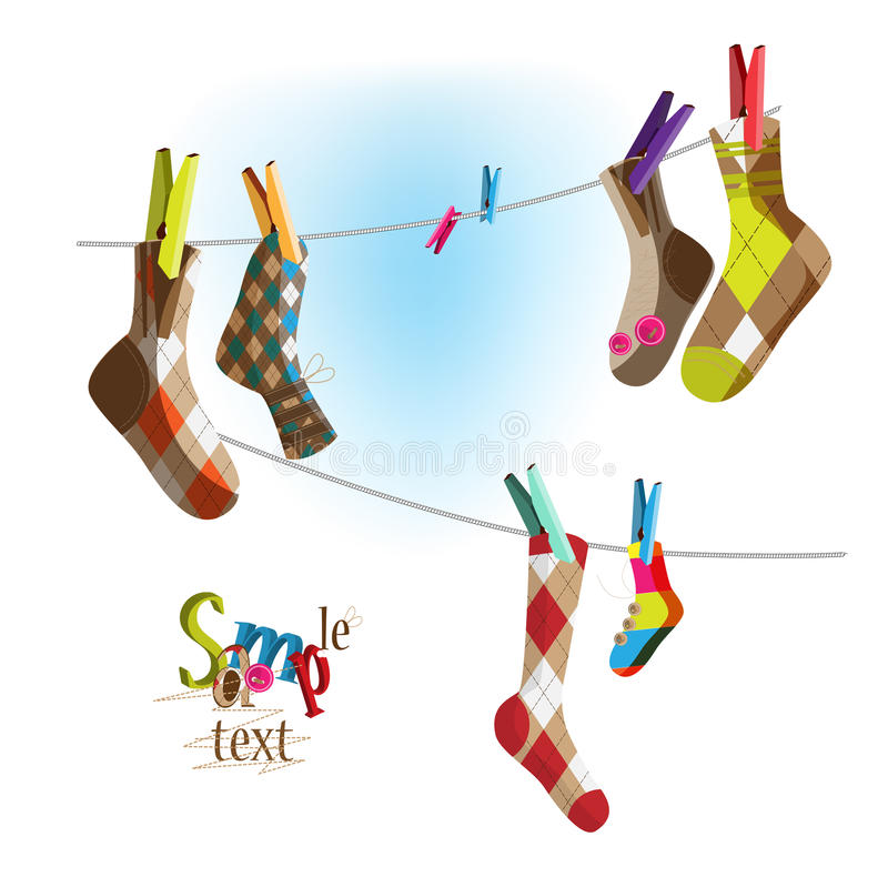 Download Socks on a rope stock vector. Illustration of stitch - 16869204