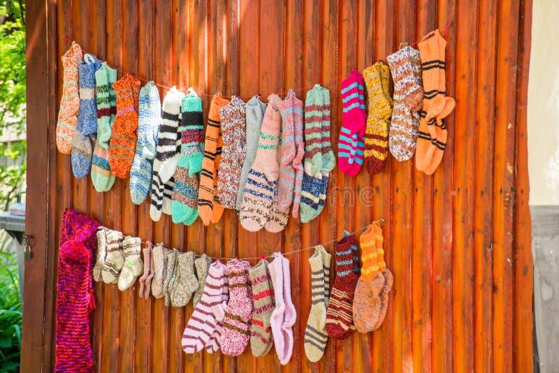 Socks for sale. Handmade socks for sale in Viscri village stock image