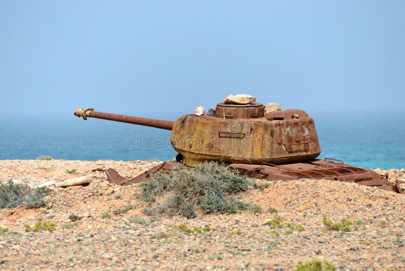 Socotra, battle tank, Yemen. Rusty soviet battle tank T-34 on the shore of Indian ocean at the Socotra Island, Yemen stock photography