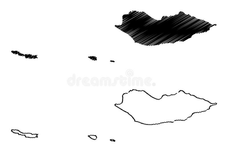 Socotra Governorate Governorates of Yemen, Republic of Yemen map vector illustration, scribble sketch Suqutra Archipelago map.  royalty free illustration