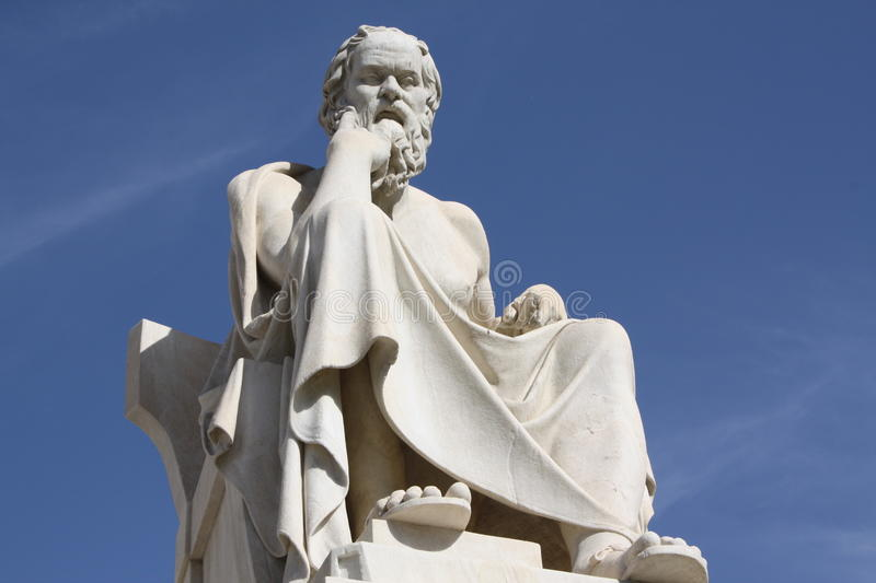 Socrates. Neoclassical statue of ancient Greek philosopher, Socrates, outside Academy of Athens in Greece stock images