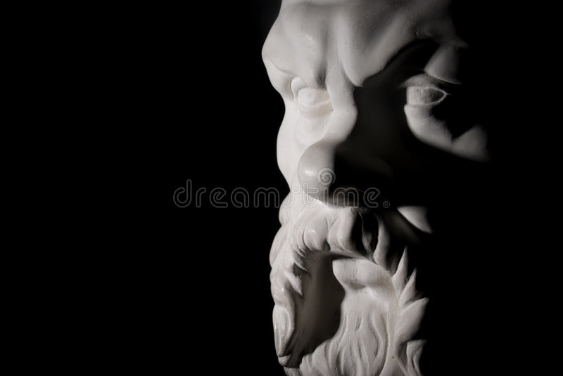 Socrates. Statue isolated on black background stock photography