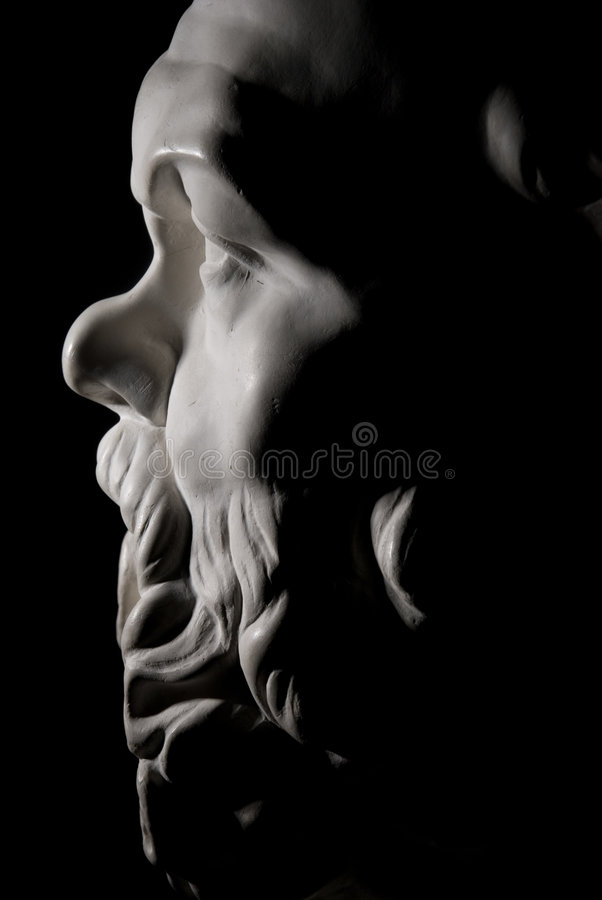 Socrates. Statue isolated on black background stock photo