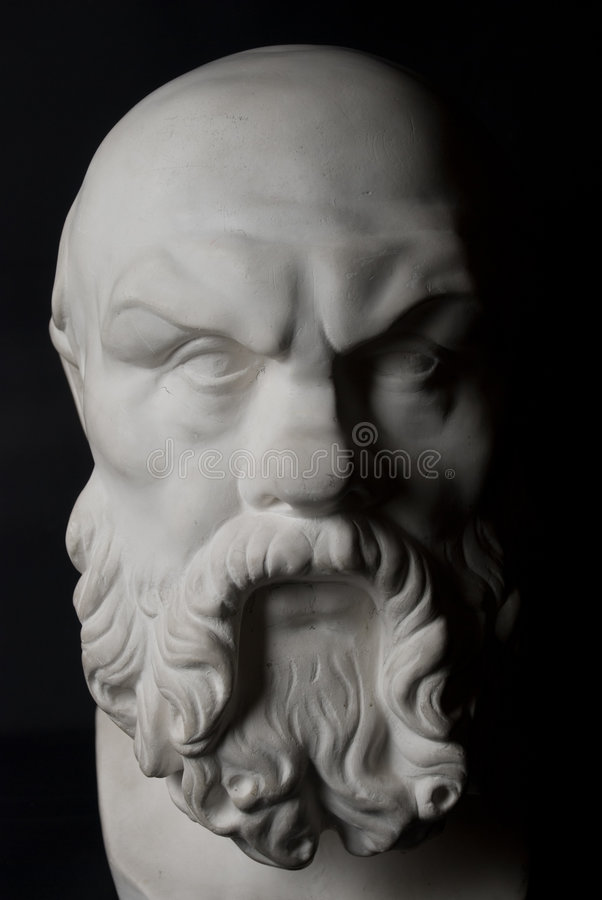 Socrates. Statue isolated on black background stock images
