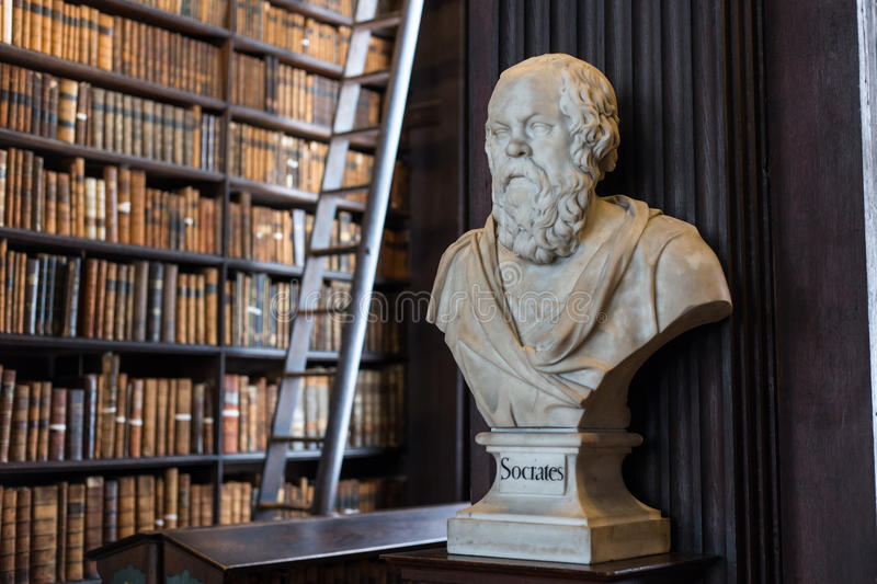 Socrates bust in Trinity College. Socrates marble bust in Trinity College Old Library in Dublin, Ireland stock image