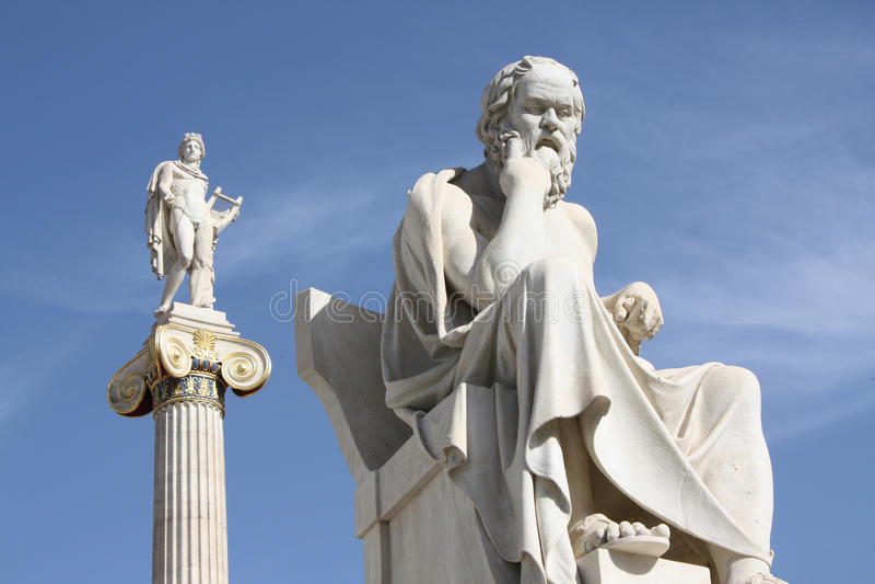 Socrates en Apollo stock fotografie
