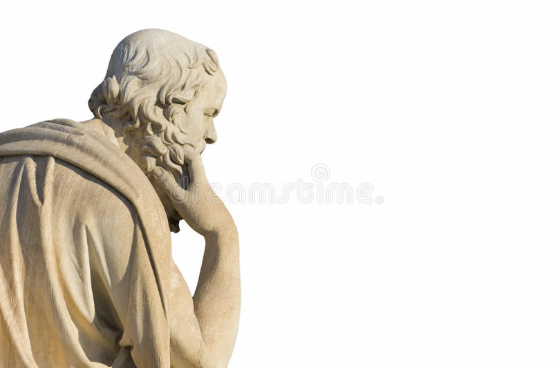 Socrates. Greek philosopher Socrates in front of the National Academy of Athens stock photos