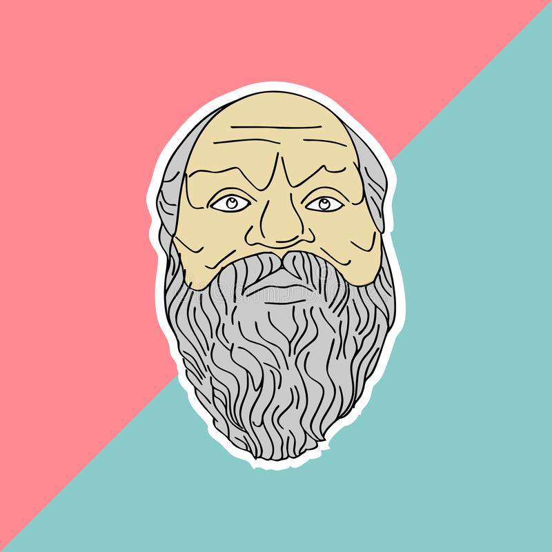Socrates hand drawn vector isolated on pastel colors background. Trendy punchy pastels with vintage drawing. Ancient philosopher vector illustration