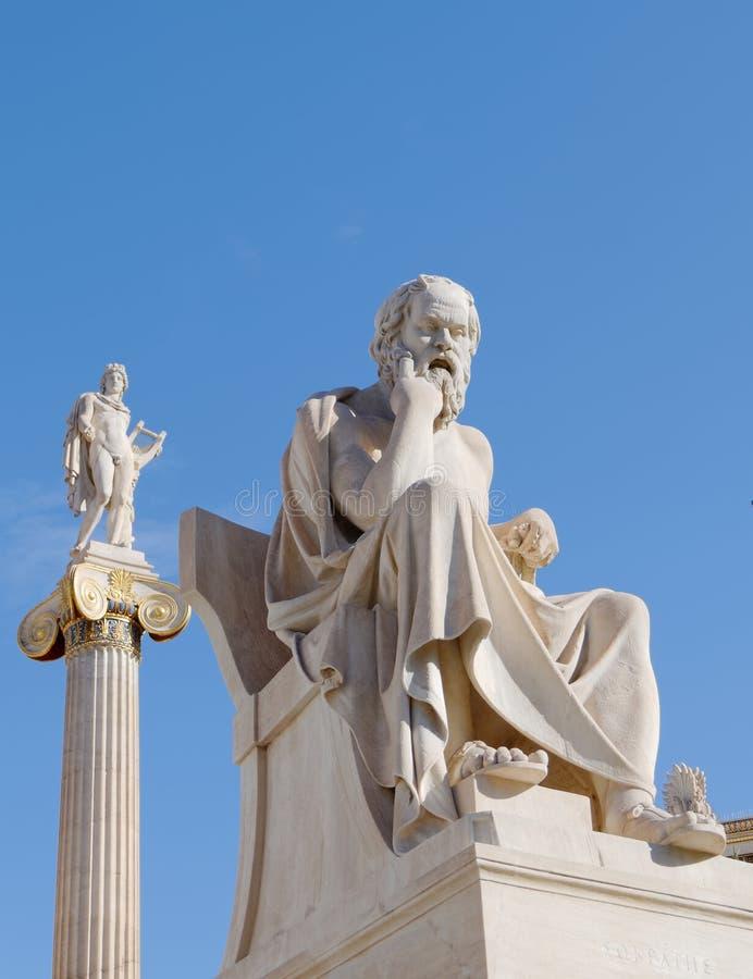 Socrates il filosofo e l'Apollo il dio delle arti, della musica e della poesia fotografie stock libere da diritti