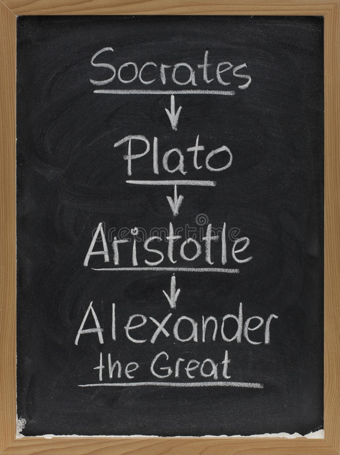 Socrates, Plato, Aristoteles op bord royalty-vrije stock afbeelding