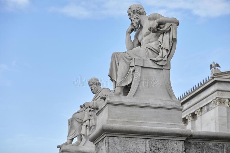Socrates and Plato statue at Athens Greece stock photos