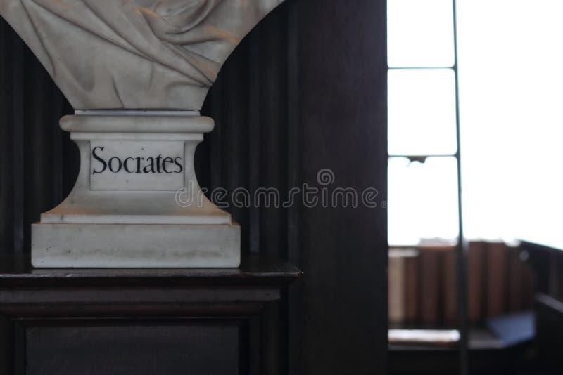 Socrates Sculptures Oude Bibliotheek in Trinity College, Dublin royalty-vrije stock foto's