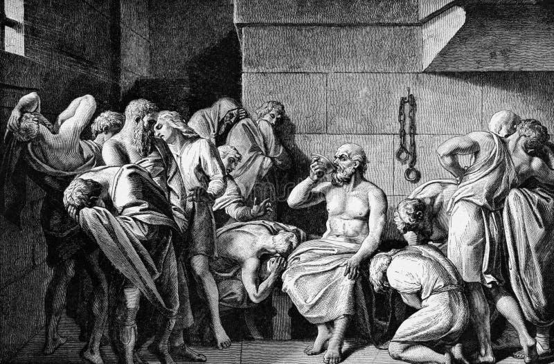 Socrates som dricker coniumen vektor illustrationer