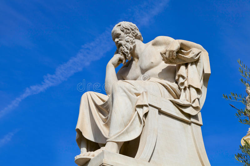 Socrates. Statue of Socrates in the Academy of Athens,Greece stock images