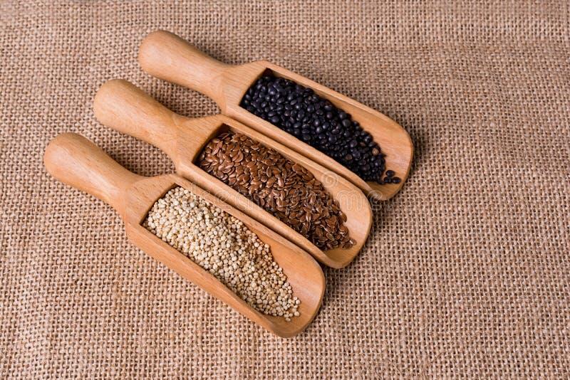 Soczewic, lna i quinoa ziarna w drewnianej łyżce, fotografia royalty free