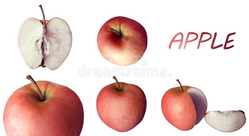 Soczyści czerwoni jabłka z nagłówkiem obrazy stock