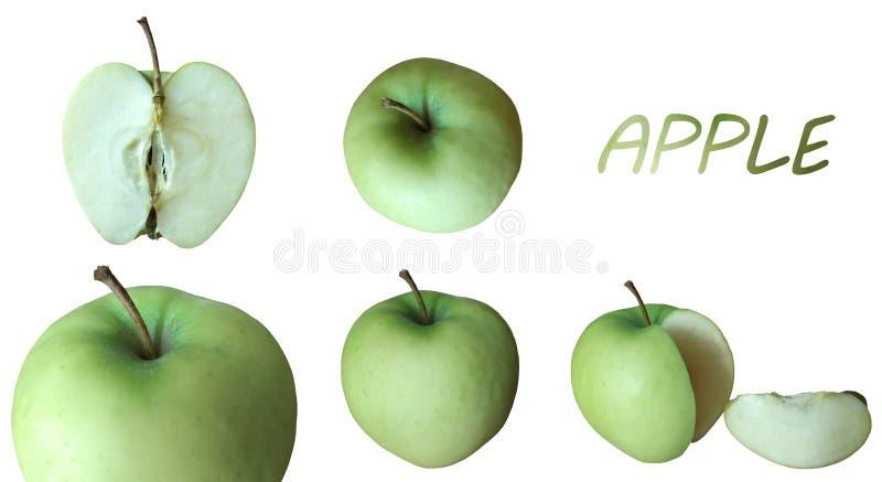 Soczyści zieleni jabłka z nagłówkiem fotografia stock
