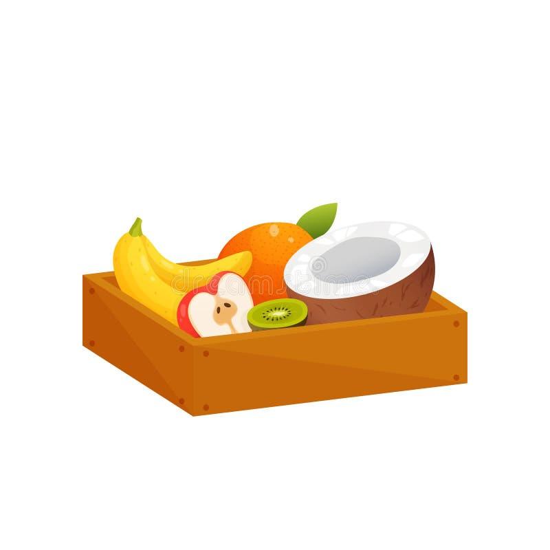 Soczysta kolorowa owoc w drewnianym prostokątnym pudełku odizolowywającym nad białym tłem ilustracji