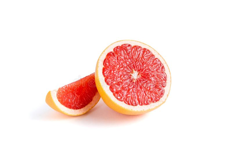 Soczysty grapefruitowy na białym tle zdjęcia royalty free