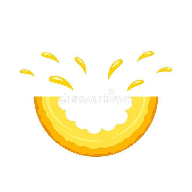 Soczysty kawałka kąska kantalup z pluśnięciami sok Logo Na Bia?ym tle Mieszkanie odosobniona wektorowa ilustracja royalty ilustracja
