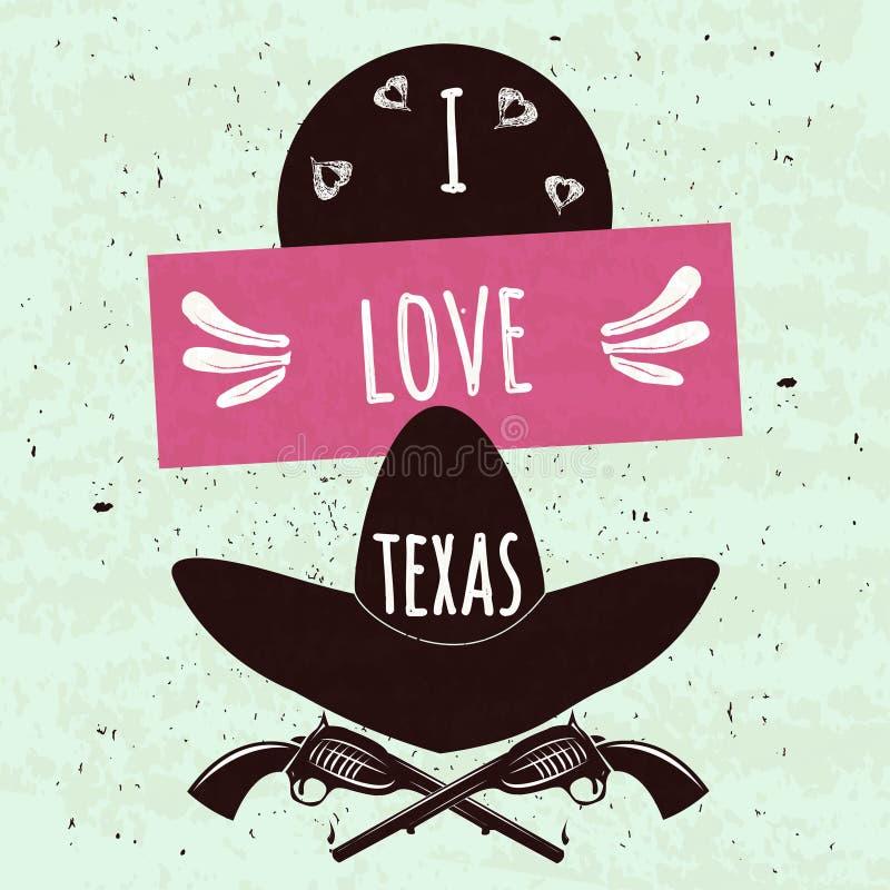 Soczysty kolorowy typograficzny plakat z atrybutami stan Teksas Ameryka ręki na lekkim tle z te i kapelusz ilustracja wektor