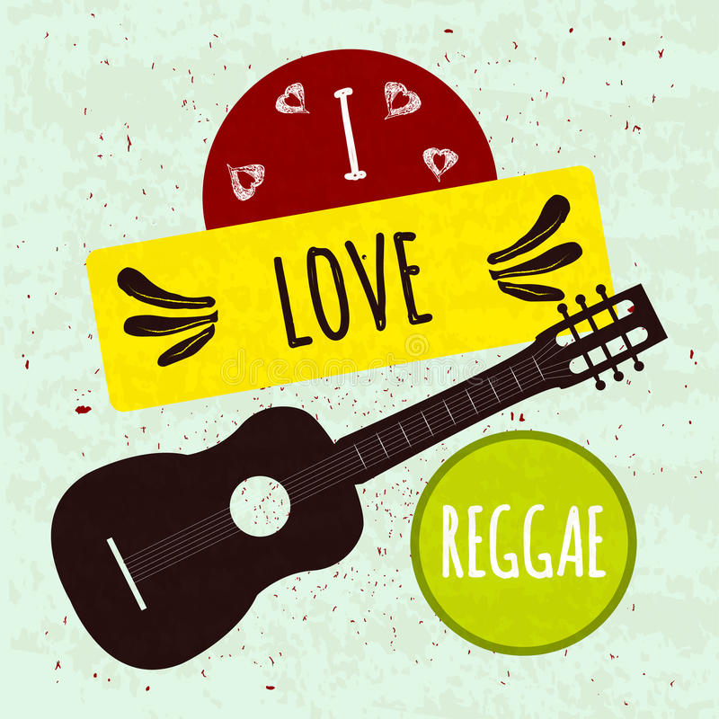 Soczysty kolorowy typograficzny plakat z instrument muzyczny gitarą na lekkim tle z teksturą Kocham Jamajskiego styl r ilustracja wektor