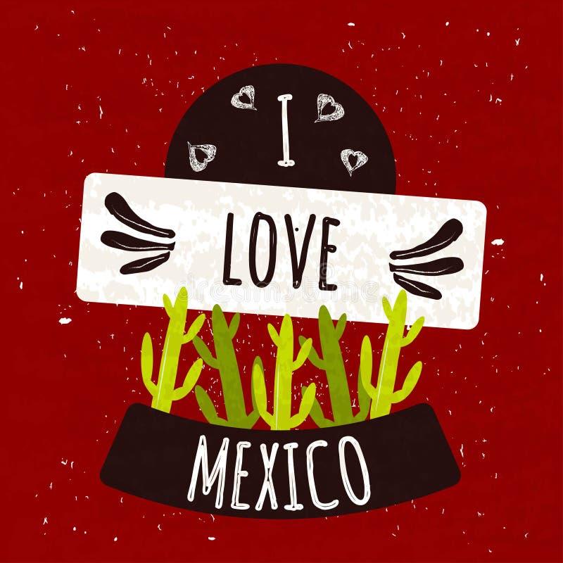 Soczysty kolorowy typograficzny plakat z symbolem kaktusowy kraj Meksyk na jaskrawym czerwonym tle z teksturą tła pięknej duży br ilustracja wektor