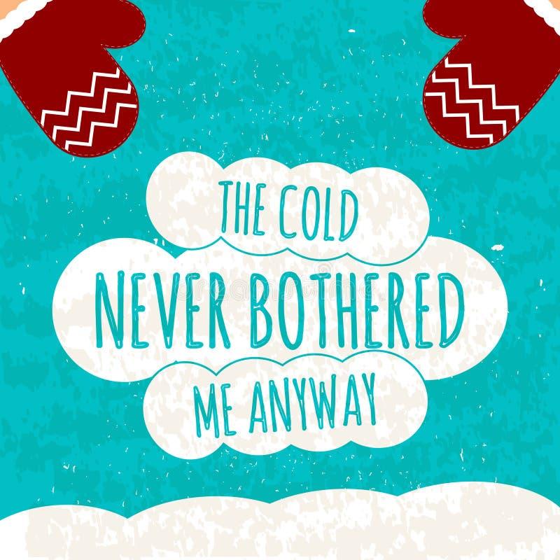Soczysty kolorowy typograficzny plakat z tekstem na bielu chmurnieje na błękitnym zimy tle z śniegiem wektor ilustracja wektor
